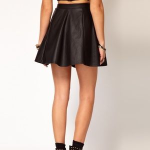 ASOS River Island Faux Leather Skater Skirt